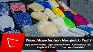 Waschhandschuh Chemical Guys Thick, Meguiars MEX 3002, Liquid Elements Monster Lupus Snow