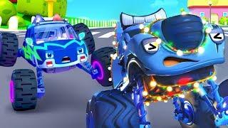 ピカピカモンスタートラック| パトカー出動!悪者を逮捕した! | はたらく車 | のりものの歌 | 赤ちゃんが喜ぶ歌 | 子供の歌 | 童謡 | アニメ | 動画 | ベビーバス| BabyBus