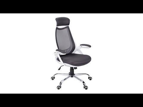 Video for Office Chair - White / Grey Mesh / Chrome High-Back Exec