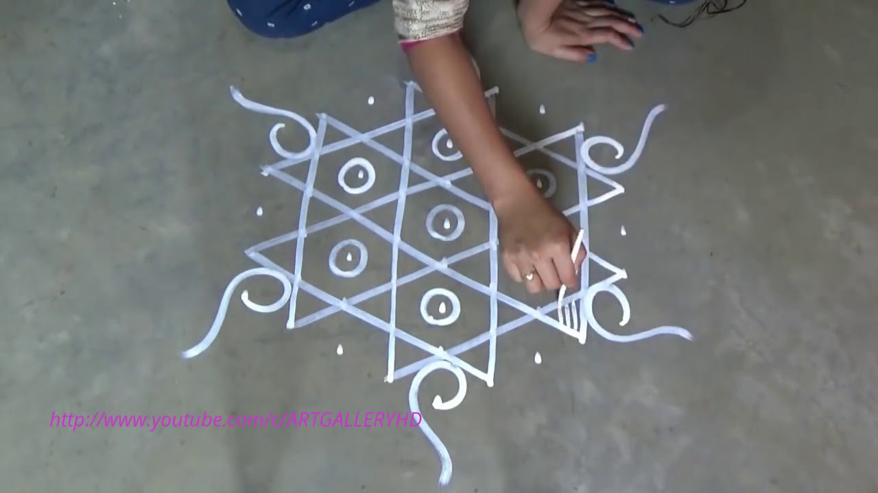 easy chowk purana rangoli design with stars by art gallery