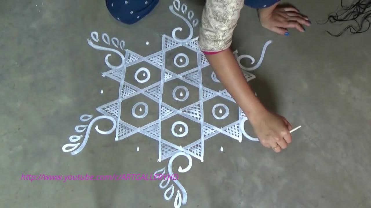 easy chowk purana rangoli design with stars by art gallery