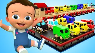 Learn Street Vehicles Names Sounds with Baby Wooden ToyTrain Transport for Kids Children Educational
