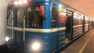 """Метро-Поезд Ема-502  по №145 -  """"Проспект Ветеранов - Девяткино"""" Борт №6611"""