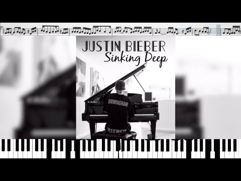 Justin Bieber covering ''Sinking Deep'' by Hillsong (кавер на пианино + ноты)