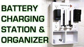 AA & AAA Battery Storage Organizer, Camera And Mobile Device Charger Station