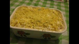 Закусочный рыбный салат- торт
