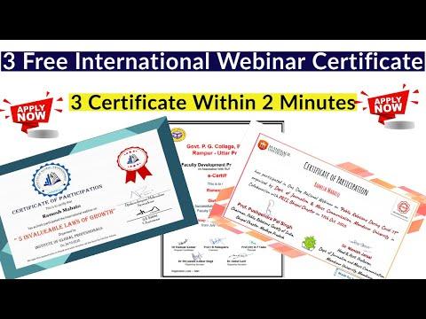 3 Free International Webinar Certificate - YouTube
