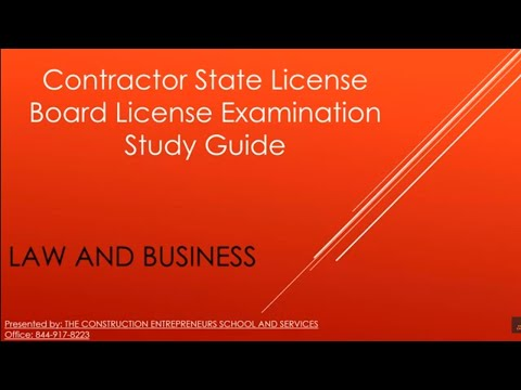 Law and Business Examination Study Guide - Construction Entrepreneurs