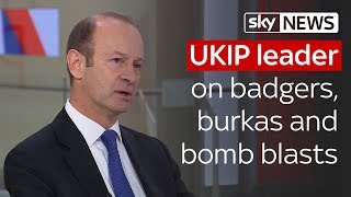 UKIP leader on badgers, burkas and bombings