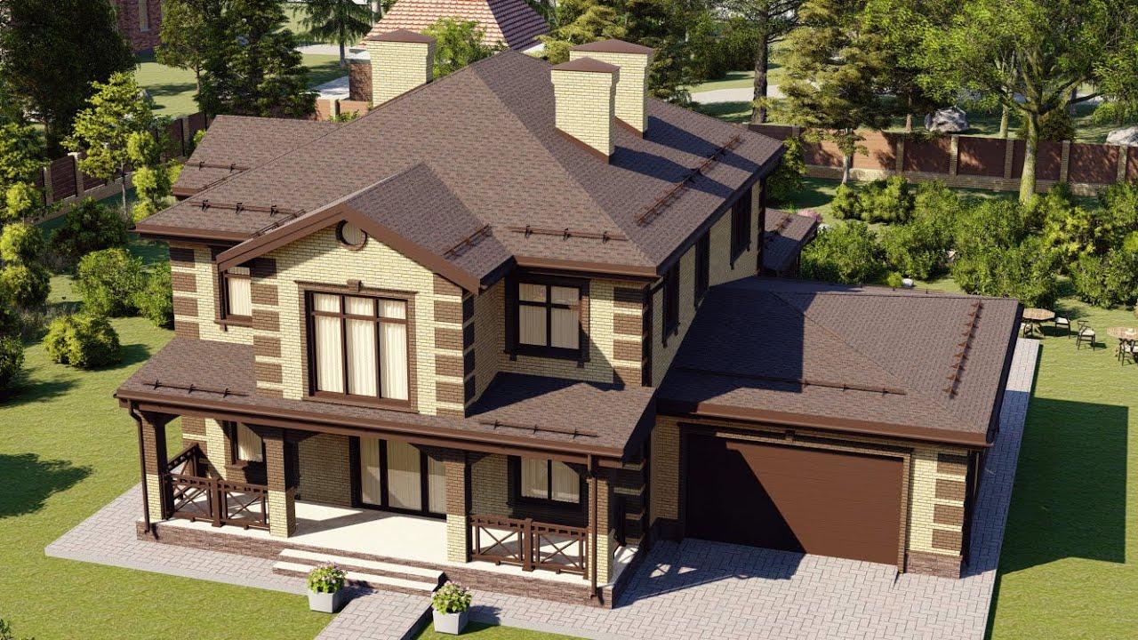 Проект большого загородного дома с гаражом 240 м2