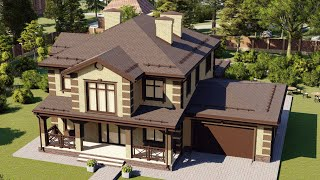 Проект дома 240-A, Площадь дома: 240 м2, Размер дома:  18,4x12 м
