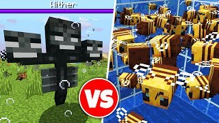 100 BEES vs WITHER BOSS in Minecraft