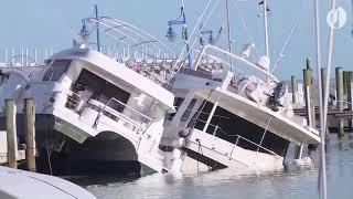 Hurricane Irma destroys boats in Miami