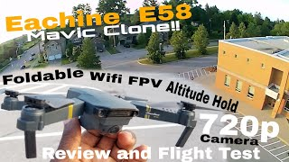 Eachine E58 (dji Mavic Clone!!) Review and Test Flight!! Foldable, 720p Cam, Wifi FPV drone
