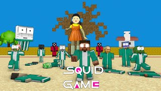 Monster School : SQUID GAME RED LIGHT GREEN LIGHT CHALLENGE - Minecraft Animation