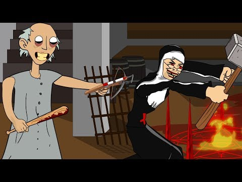 GRANNY THE HORROR GAME ANIMATION #22 : EVIL NUN Vs Scary Granny DAY 2 (видео)