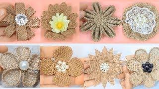 10 Easy Burlap Flowers Tutorial | Jute Craft Flower
