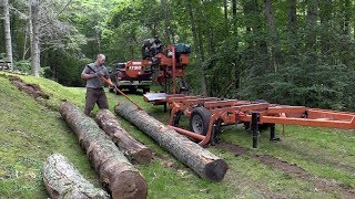 Tricky trailer backup, broken blades, walnut    SAWMILLING