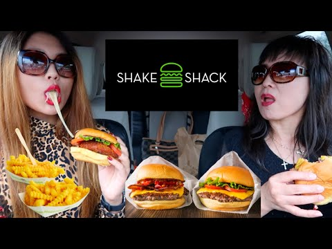 SHAKE SHACK BACON CHEESEBUGER + CHEESY SHROOM BURGER + FRIES MUKBANG   Kim&Liz Too