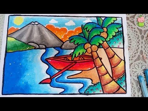6000 Koleksi cara menggambar pemandangan pantai di buku gambar HD