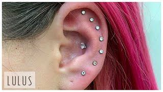 8 Piercings On 1 Ear!!