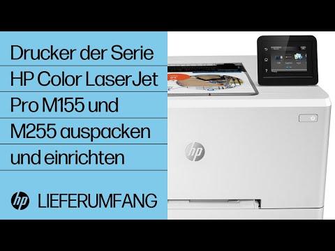 So packen Sie die Drucker der Serie HP Color LaserJet Pro M155 und M255 aus und richten sie ein