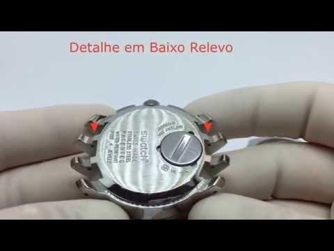 72b065b7850 Pulseira Swatch Couro Liso 19mm Azul Irony Clássico - R  45
