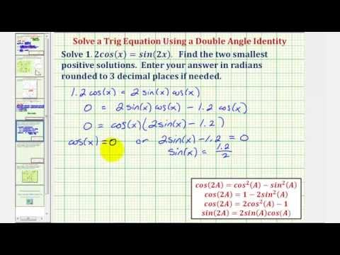 Ex: Solve 1 2cos(x)=sin(2x) | Math Help from Arithmetic