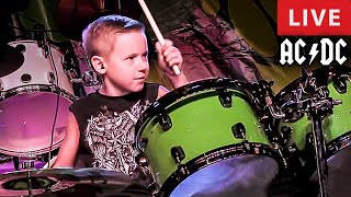 DIRTY DEEDS DONE DIRT CHEAP - LIVE (7 year old Drummer)