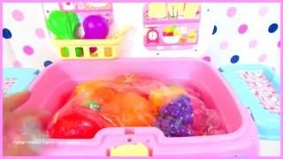 Hello Kitty Mobile Kitchen with Velcro Cutting Foods | itsplaytime612 Toys Play