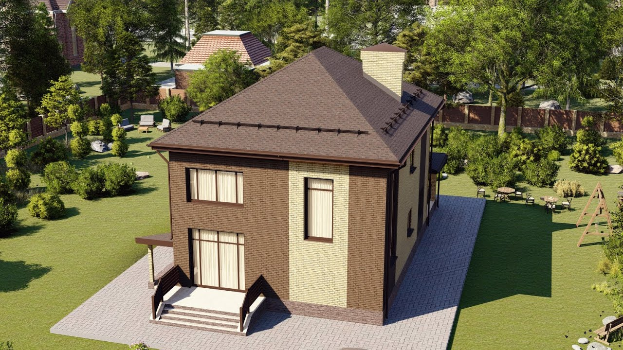 Дом из пеноблока 2 этажа с террасой 122 м2