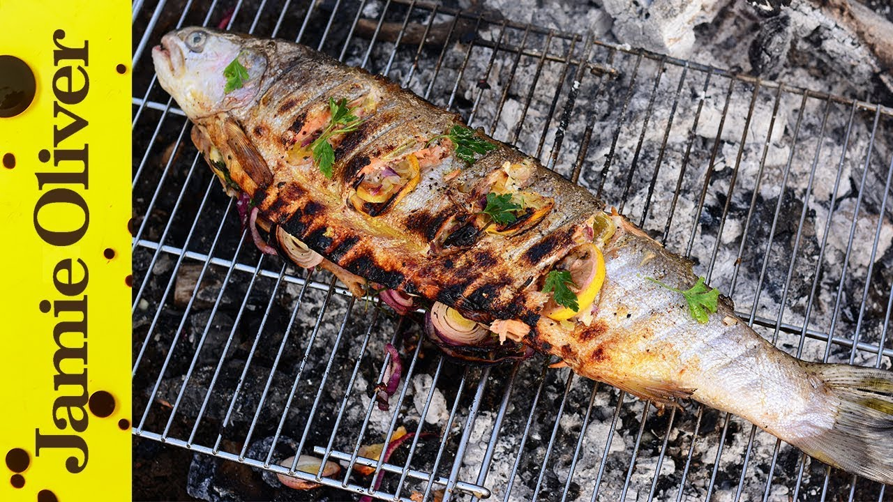 barbecued trout in newspaper fish recipes jamie oliver. Black Bedroom Furniture Sets. Home Design Ideas