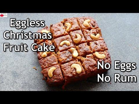 Eggless Fruit Cake Recipe – No Eggs No Rum – Healthy Christmas Fruit Cake – Kerala Plum Cake Recipe