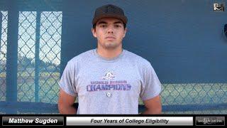 2021 Matthew Sugden GPA - 3.5 - Athletic Catcher Baseball Skills Video - 4 years of Eligibility