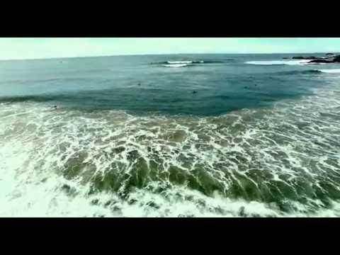 Surfing lineup shot by drone at Port Macquarie