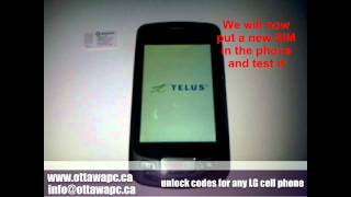 Unlock Any LG Optimus Bell Telus Rogers Koodo Cell Phone - P500 Instructions