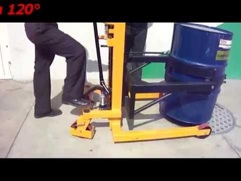 Elevador, volteador y transportador de tambos