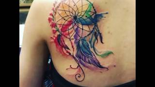 Hình Xăm Dreamcatcher Màu Nước - Watercolor Dreamcatcher Tattoo- VNStyle Tattoo & Piercing