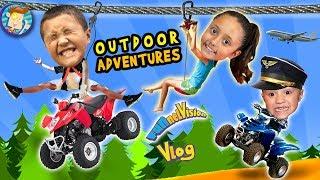ZIP LINING + 4 WHEELERS + BUMPER BOATS = Outdoor Adventure Fun! FUNnel V ATV Vlog