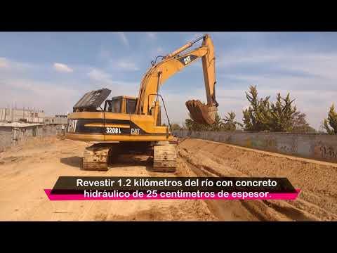 Avanzan trabajos de resvestimiento del Río Coatepec