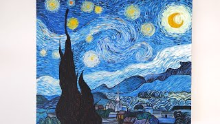 how to paint starry night in acrylic // tutorial and timelapse