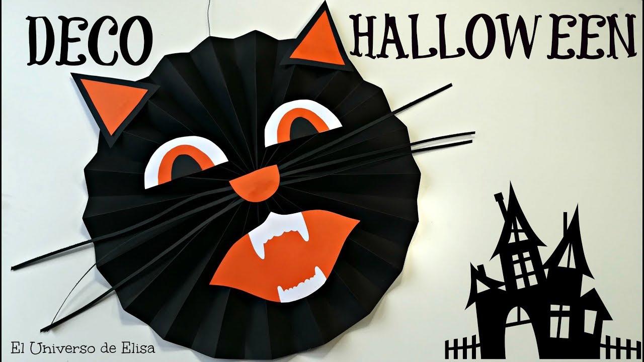Decoración para Halloween y El Día de los Muertos, Roseta Decotativa con Cara de Gato, Halloween