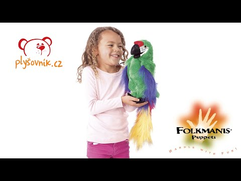 plyšový Papoušek ara zelený