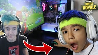 I Turned My 10 Year Old Little Brother Into Ninja! Little Brother Plays Fortnite Solos!