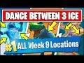 DANCE BETWEEN THREE ICE SCULPTURES, DINOSAURS, HOTSPRINGS *ALL LOCATIONS* Fortnite Week 9 Challenges