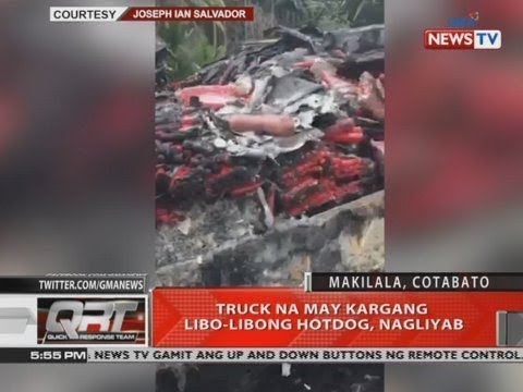[GMA]  QRT: Truck na may kargang libo-libong hotdog, nagliyab