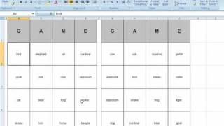 Bingo Card Generator - Microsoft Excel