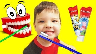 Brush Your Teeth Song | Caleb Pretend Play Learning How to Brush Teeth Nursery Rhymes & Kid Song