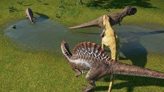 Spinosaurus VS Giganotosaurus VS T-Rex VS Ceratosaurus Update 1.4 - Jurassic World Evolution