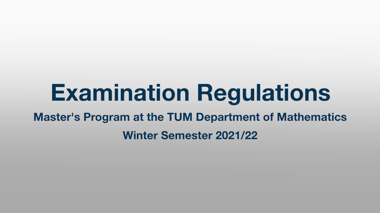 Introduction to Examination Regulations for the Master's Programs (Winter Term 2021/22)